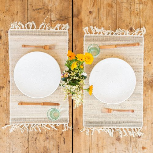 Banana Bark And Coconut Fiber Placemats With Chabi Chic White Ceramic Plates | The Little Market