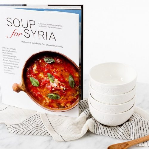 Soup-for-Syria-Cookbook-Napkin-White-Woven-Ceramic-Soup-Bowl-White-Little-Wood-Spoon-Olive-Wood-6_The_Little_Market